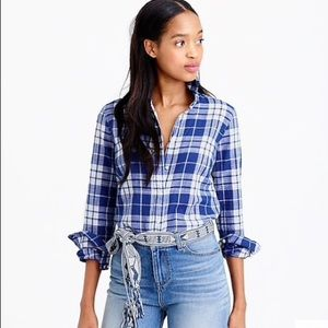 J Crew Perfect Shirt in Blue Crinkle Plaid